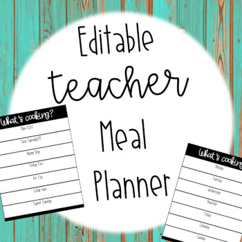 Editable Teacher Meal Planner Freebie!