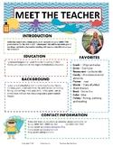 Editable Teacher Newsletter Meet the Teacher Beach Sea Creatures Ocean