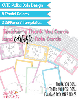 Editable Teacher Note Cards - Thank You Card - Postcard Fun Polka Dots Pastel