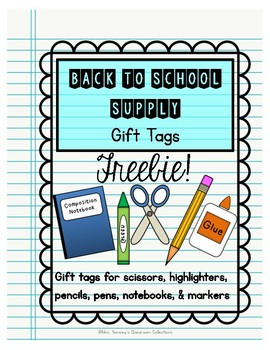 Back to School Supply Gift Tags
