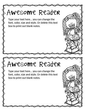 Editable Teacher Notes (Blackline) | 2 Per Page