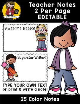 Editable Teacher Notes (Color)   2 Per Page