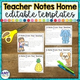 Editable Teacher Notes to Send Home During Distance Learning