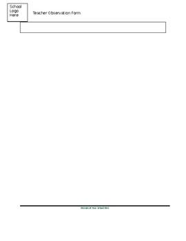 Editable Teacher Observation Template