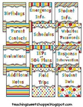 *Editable* Teacher Organizational Binder - The Colors of Dr. S!
