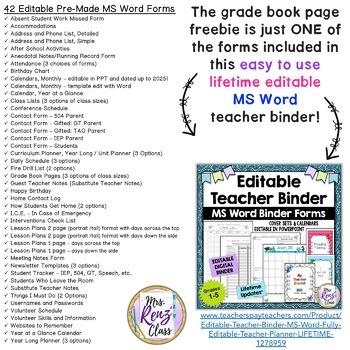 Editable Teacher Planner FREEBIE