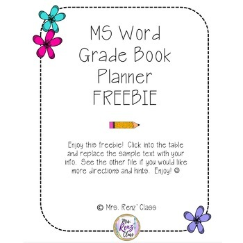 Editable Grade Book Page - MS Word Student Data Page Editable FREEBIE!