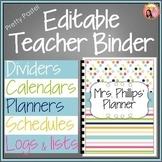 Teacher Binder (Editable 2018-2019 Pretty Pastel) edition - updated each year