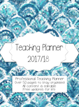 Editable Teacher Planner 2017/18