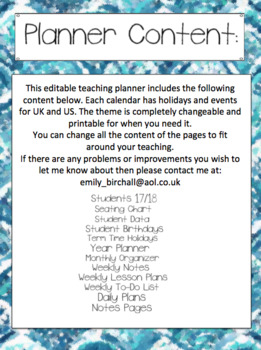 Editable Teacher Planner 2017/18