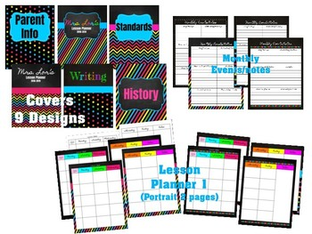 Editable Teacher Planner 2018 - 2019 (in Google Drive) Chalkboard Brights