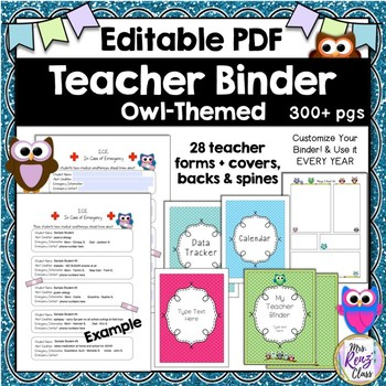 Teacher Planner Binder in Editable PDF Format with 300 Pages of Materials