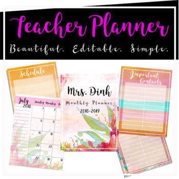 Editable Teacher Monthly Planner (Sunset Floral)