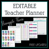 2018-2019 Bright Pineapples Editable Teacher Planner & Binder - Free Updates!