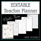 Editable Teacher Planner & Binder Marble Design- Free Upda