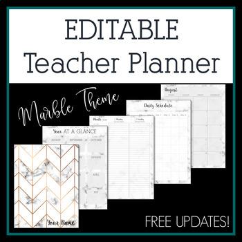 2018-2019 Marble Editable Teacher Planner & Binder - Free Updates!