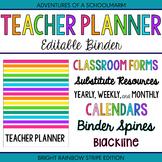 Editable Teacher Planner Binder Rainbow Stripes 2021-2022