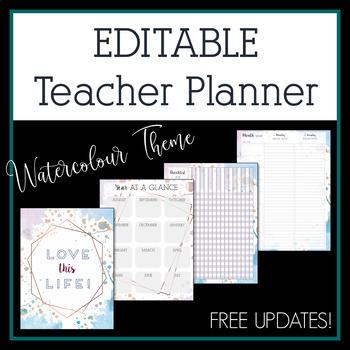 2018-2019 Watercolour Editable Teacher Planner & Binder - Free Updates!