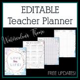 2018-2019 Watercolour Editable Teacher Planner & Binder -