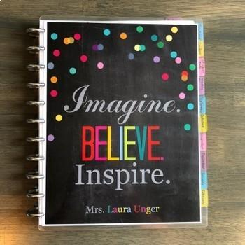 Editable Teacher Planner 2017-2018 in Dots Design