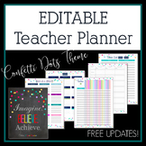 2019-2020 Editable Teacher Planner & Binder - Confetti Dots Theme