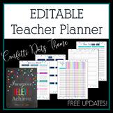 Editable Teacher Planner & Binder - Confetti Dots Theme