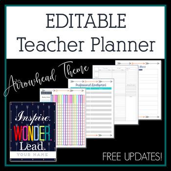 2018-2019 Arrowhead Editable Teacher Planner & Binder - Free Updates!