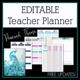 2018-2019 Peacock Editable Teacher Planner & Binder - Free Updates!