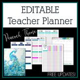 Editable Teacher Planner 2017-2018 in Peacock Feather Design