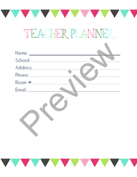 Editable Teacher Planner 2017-2018 in Triangles Design