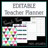 Editable Teacher Planner & Binder in Triangles Design with