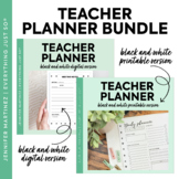Editable Teacher Planner   Black & White   BUNDLE: PRINTAB