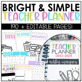 Editable Teacher Planner-Bright & Simple