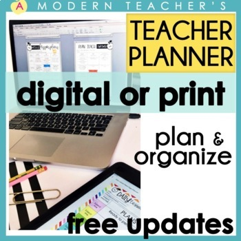 Editable Teacher Binder Bundle FREE Updates -Planner & Organizers 2017-2018