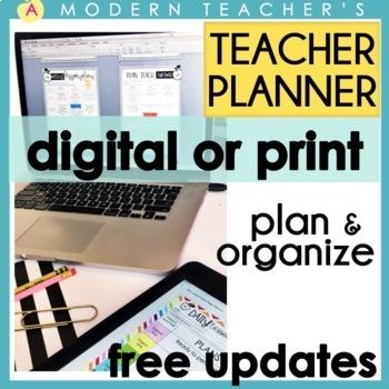 Teacher Binder Teacher Planner 2018-2019 GOOGLE DRIVE Ready, EditableFREEUPDATES