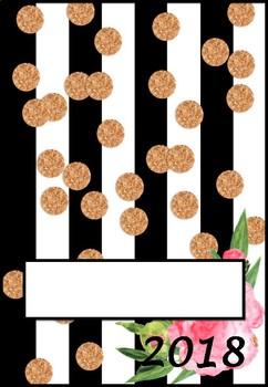 2018 Editable Teacher Planner - Flower Black White Stripe