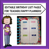 Editable Teacher Planner Birthday List Sheets