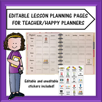 Editable Teacher Planner Lesson Plan Templates with Stickers