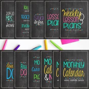 Ultimate Teacher Planner & Organizer Binder - EDITABLE {Chalkboard & Brights}