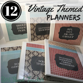 Teacher Planner 2018-2019 Editable Binder Covers Vintage Theme