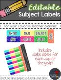Editable Teacher Planner Subject Stickers