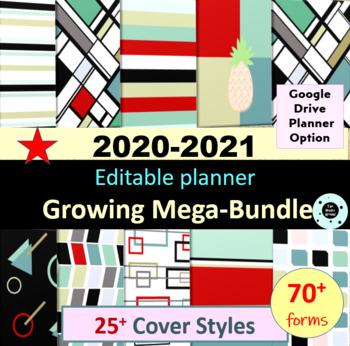 Editable Teacher Planner & Teacher Binder 2019-2020 Disc Planner Bundle