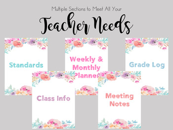Editable Teacher Planner - Watercolor Flowers