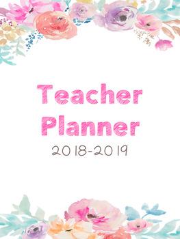 Editable Teacher Planner (Watercolor Flowers)