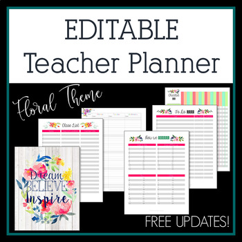 Editable Teacher Planner 2017-2018 in Floral Design
