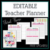 Editable Teacher Planner & Binder in Floral Design with Fr