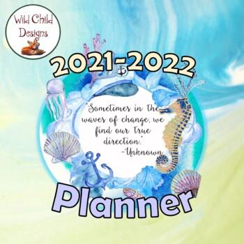 Editable Teacher Planner and Binder Materials: Ocean Themed