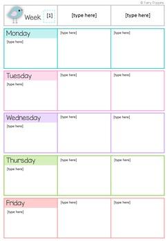 Editable Teacher Binder, Planner & Labels (Bird Theme)