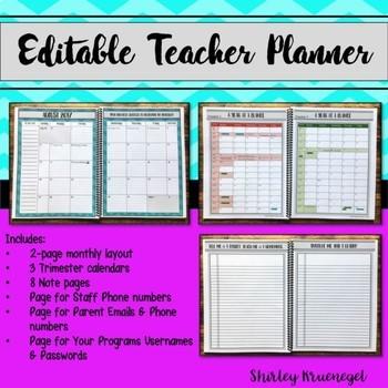 Editable Teacher Planner for 2017-2018