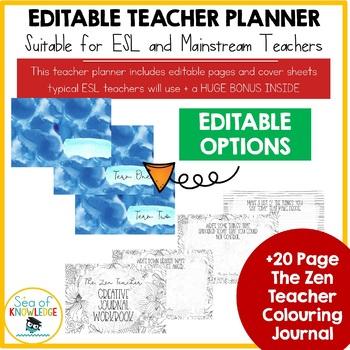 Editable Teacher Planner for ESL Teachers + BONUS Colouring Workbook